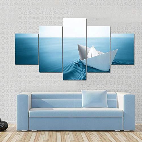 Impresiones 5 Pieza Impresiones sobre Lienzo 100X55CM Origami navegando en Aguas Azules Cuadro En Lienzo 5 Piezas Impresión Material Tejido No Tejido Impresión Artística Imagen Gráfica Decoracion