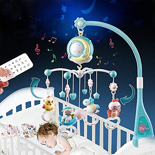 Baby Musical Crib Mobile, Projection Function and Night Light, Hanging Rotating Removable Teether Rattle and 150 Melodies Music Box with Remote Control, Toy for Newborn 0-24 Months (Blue)