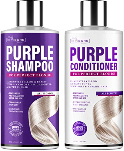 Purple Shampoo and Conditioner Set (8oz x2) - Blonde Shampoo - Made in USA - Mild Formula - Hair Toner Shampoo & Conditioner for Brassy Hair - Purple Toning Shampoo & Overtone Conditioner