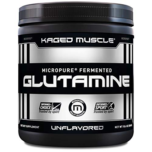 KAGED MUSCLE, L-Glutamine Powder 300 Gram, Vegan, Support Muscle Recovery, Post Workout, Glutamine, Banned-Substance Free, Unflavored, 60 Servings