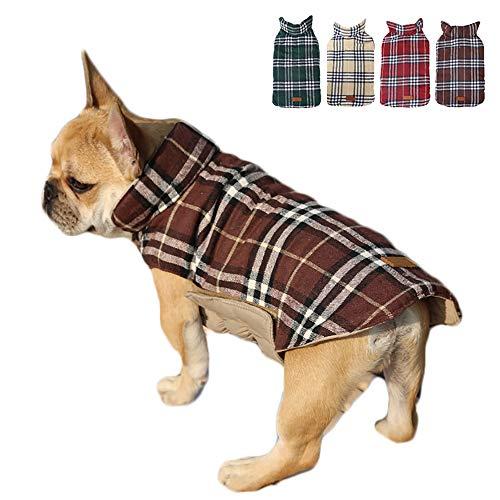 TFENG Hundemantel Hundejacke für Hunde Welpen, Gepolstert Puffer Umkehrbares Design Weste Regenmantel (Braun, Größe S)