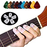 Guitar Fingertip Protectors - 40 Pcs Silicone Guitar Finger Guards Guitar Fingertip Protection Covers Caps for Stringed Instruments Like Guitar Ukulele Bass, Sewing and Embroidery (5 Sizes)