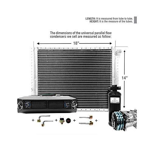 CLIMAPARTS AC Kit Universal Evaporator Underdash Unit Compressor and Condenser 14 x 18