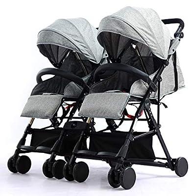 ZJGOODS Cochecito de Bebé Doble Desmontable con Respaldo Ajustable, Cochecitos Plegables con Mosquitero Anti Mosquitos para Bebés