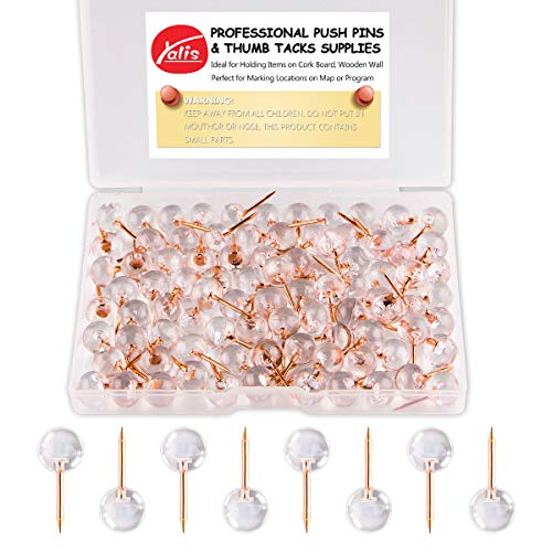 Yalis Push Pins 1/3 Inch Rose Gold Map Tacks 100-Count Large Size Pins Rose Gold Steel Point and Transparent Plastic Round Head (Rose Gold)