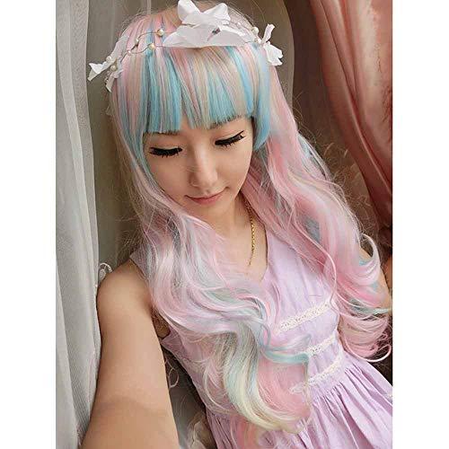 Glad haar Vrouwen pruik Mooie lange golvende Harajuku Style Cosplay Pruik (lichtblauw/Light Purple/Pink) 26.5 inch / 68cm