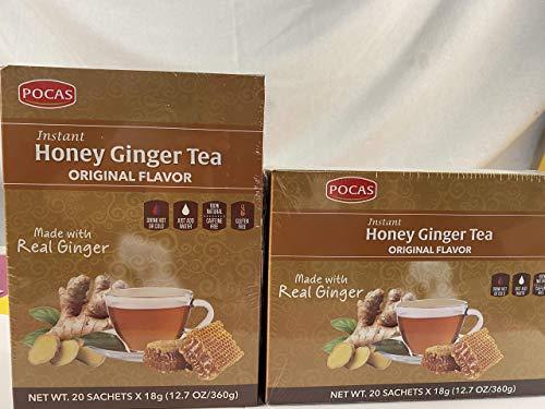 (40 Bags) Pocas Instant Ginger Honey Tea 18g/0.63oz (Honey Ginger Original) - 10 PACK