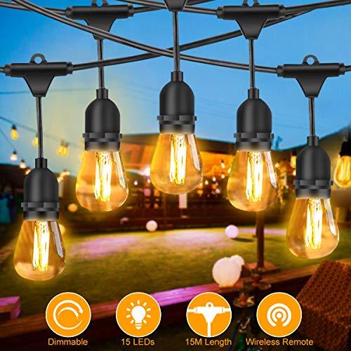 Lichterkette Außen, FOCHEA LED Lichterkette Glühbirnen 15M IP65 Wasserdicht Lichterkette Garten mit 15 x E27 Hängesockeln, 17 x 2W LED-Glühbirnen für Hochzeit Party Innen Aussen Dekoration