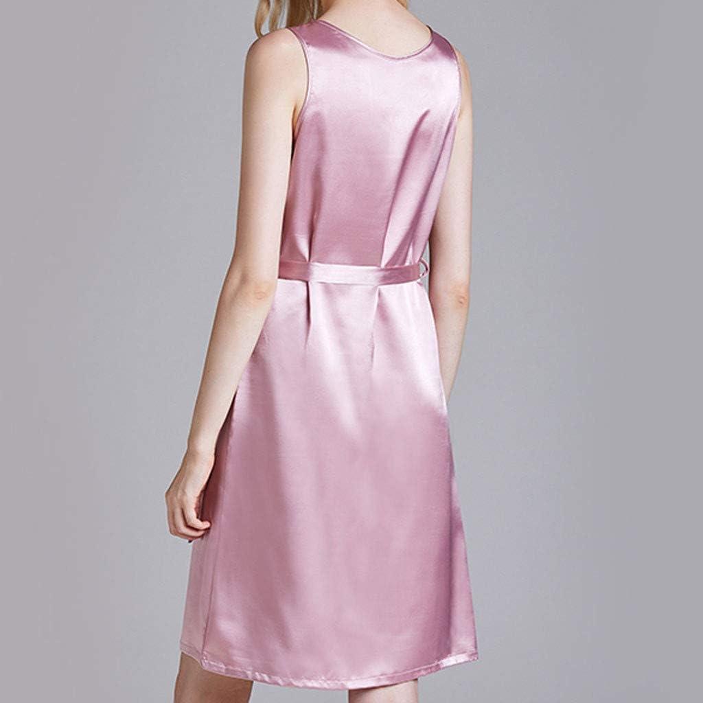 Litetao Women Casual Sleeveless Button Down Sold Sleepwear Nightgown V-Neck Sleepwear Pajama Dress