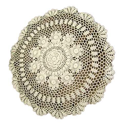 Diamoen Hand Weave Spitze Runde Deckchen häkeln aushöhlen Kleine Tischdecke Vintage-Tischdecke mit Blumenmöbeldekor