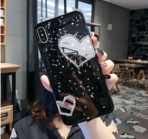 Hnzxy Handyhülle Kompatibel mit Huawei Nova 3 Hülle Spiegel Glänzend Glitzer Kristall Strass Diamant Liebe TPU Silikon Handy Hülle Durchsichtige Schutzhülle Case Tasche Etui für Huawei Nova 3, Schwarz - 2