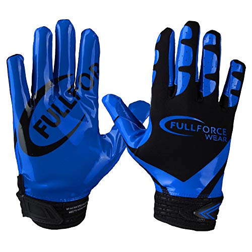Receiver Football Gloves, Full Force Victory American Football Handschuhe - schwarz/royal Gr. M