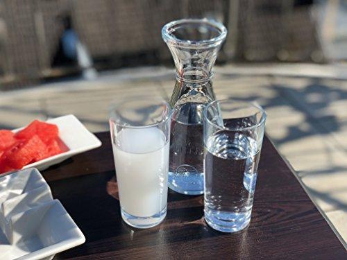 """Topkapi 200.315-3-TLG Gedeck-Set aus Glas für Raki/Ouzo """"Saloniki"""", 2 Original Raki Ouzo Gläser und eine Karaffe"""