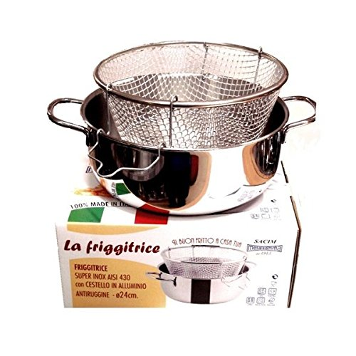Viscio Trading - 165878- Freidora inoxidable con cesta de aluminio, apta también para placa de inducción, 24cm