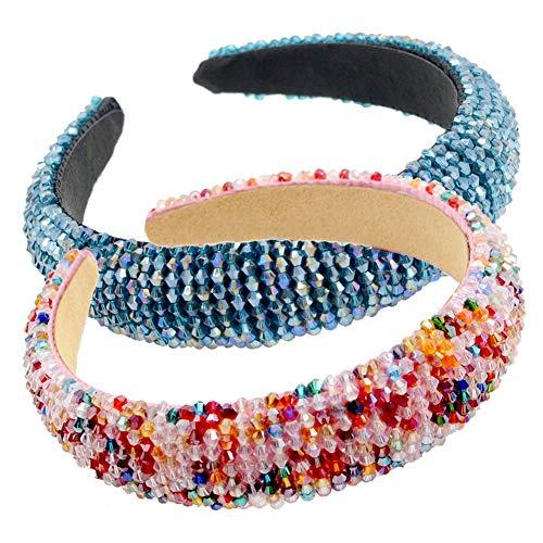 LIXILI Cedas Acolchadas con Cuentas Cristal de Vidrio Adorno de Cristal de Cristal Headband Hair Band Hoop Goth Cabeza de Boda Moda Accesorio para el Cabello,B