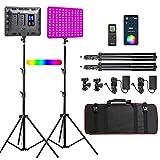 Weeylite RGB 2 Stück LED Studiolicht Set, 30W Dimmbare Videoleuchte mit Stativ kabellose Fernbedienung, Beleuchtung Set 2500K-8500K Handy-APP für YouTube, Fotografie, Video Studio, Meeting, Porträt