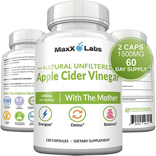 Raw Apple Cider Vinegar Capsules with Mother, 1500mg - Energy Lift, Detox ACV, Probiotics for Women & Men, Weight Loss for Women, Bloating Relief. Gluten-Free, Non-GMO Supplements, 1 Pack
