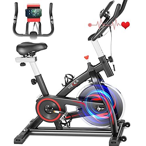 HEKA Bicicleta Estáticas para Indoor Fitness, Bici de Spinning, Pro. Bicicleta Spinning Bici Ejercicio, Volante 13kg, Manillar y Asiento Resistencia Ajustable, Pantalla LCD y Pulsómetro, Max.150kg