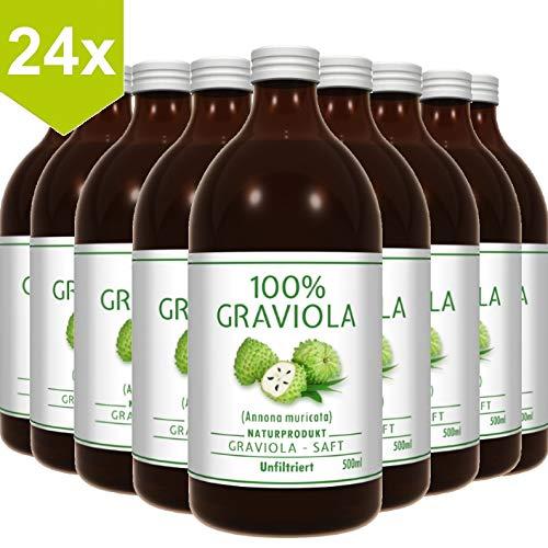 24 x 100% Graviola Direkt-Saft -unfiltriert & vegan- (24 x 500ml), aus 100% Graviola Püree. Stachelannone, Soursop, Corossol, Guanabana.