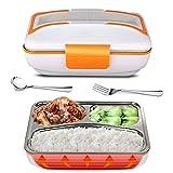 Fiambrera Electrica para Coche, 12V / 24V Calentador de alimentos para uso en automóviles, calefacción eléctrica portátil fiambrera (Naranja)