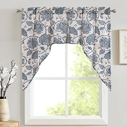 JINCHAN Swag Valance Blue on Beige Kitchen Window Curtain Linen Print Scroll Jacobean Floral Paisley Medallion Rustic Country Style Living Room Window Treatment 38 Inch Long