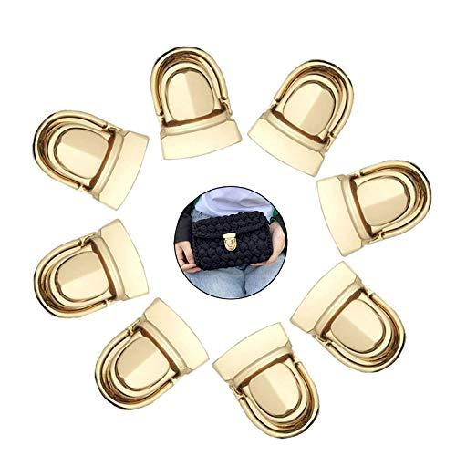 XVWERN Metall Steckschloss DIY Tasche Lock Zubehör Turn Lock Geldbörse Metall Schnalle Drehverschluss Geldbörse Push Lock Leder Handtaschen Taschenschließe Portemonnaie 40 * 32mm Hell Gold 12 Stück