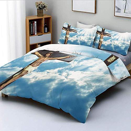 Totun Bettbezug-Set, Cross on Sky Hintergrund mit majestätischen Sonnenstrahlen Celestial Paradise HeavenDecorative 3-teiliges Bettwäscheset mit 2 Kissen Sham, Blau-Weiß-Bräune, Kinder \