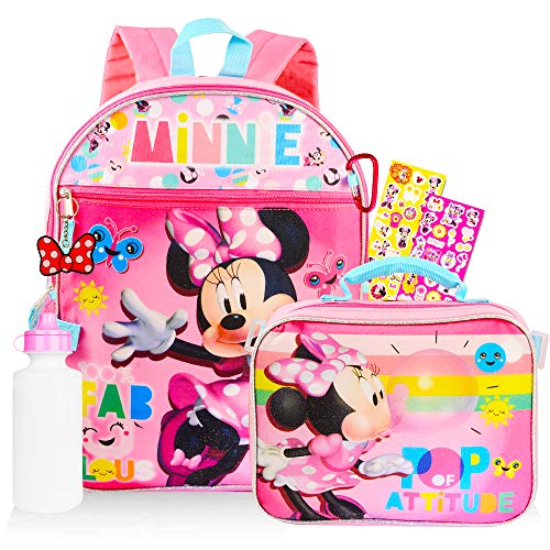 Disney Minnie Mouse Backpack 6 Pc School Set ~ Bundle Includes Deluxe 16 Inch Minnie Backpack, Lunch Bag, Water Bottle, Stickers and More (Minnie Mouse School Supplies)