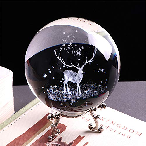 qianyue 3D Crystal Wapiti Ball Figurine Feng shui Office Decorative Storm Glass Ball Balls Ornaments Animal Wapiti Statue Crafts (60mm)