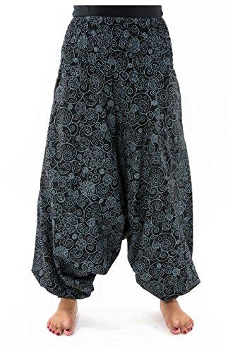FANTAZIA Sarouel Femme Elastique Spirale etnique Chic Hiver - Taille Unique - 100% Coton - Noir - Ethnique - Confortable & Original - Créé en France, Fabrication Ethique Depuis 2004