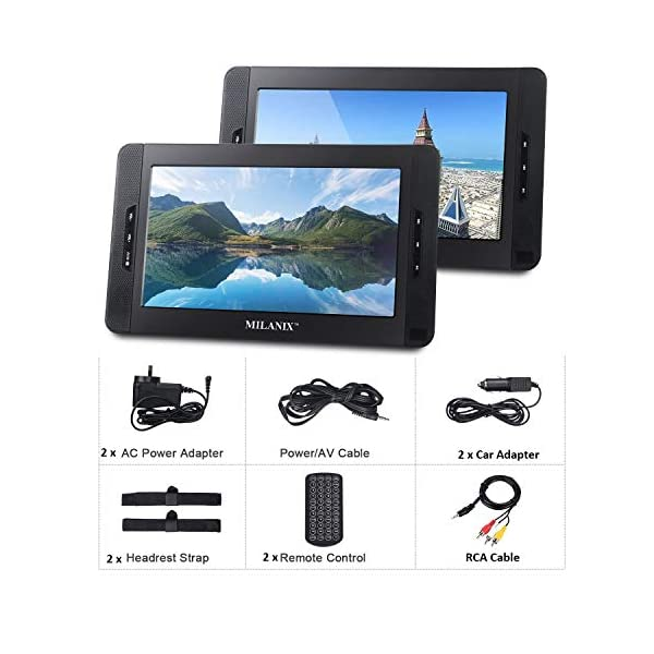 Portable Dual Screen DVD Player System For Car With Built In 5 Hour Rechargeable Battery, SD/MMC & USB Input (Plays One or Two Different Movie DVDs at The Same Time) MX102 with Card Reader 4