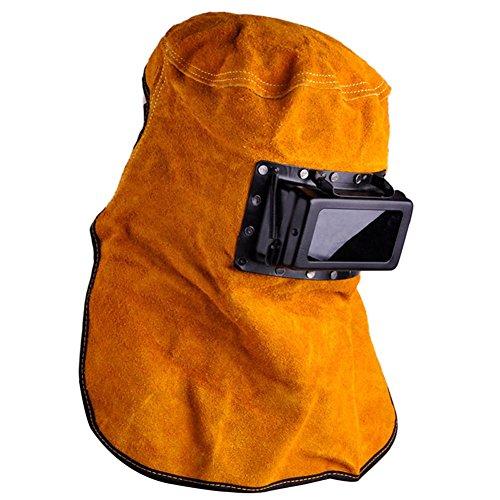 Liamostee - Filtro Solar de oscurecimiento automático para Soldador de Lentes de Cuero con Capucha para Casco de Soldadura