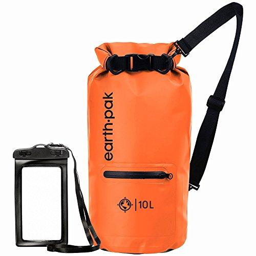 Earth Pak-Torrent Series Waterproof Dry Bag Keeps Gear Dry for Kayaking, Boating, Hiking, Camping and Fishing with Waterproof Phone Case (Orange, 10L)