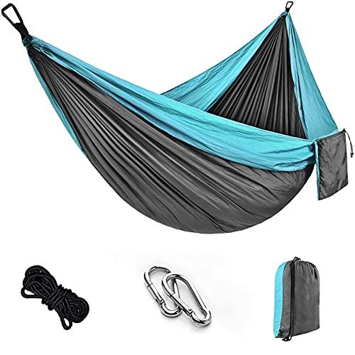 FDSJKD Tragbare Camping-Hängematte, doppelt hängendes Bett, leichte Nylon-Parachute-Hängematte, Outdoor-Survival Reise-Freizeit-Schlafen (Color : Blue)