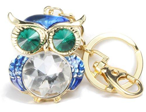 QUADIVA - Colgante de adorno para bolsos, búho grande con brillantes, para mujer (Color: Oro / verde / azul)