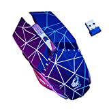 Wireless Gaming Mouse, elecfan USB Rechargeable Wireless Silent Mouse 7 Color LED Backlit Optical Ergonomic Optical USB Gaming Mouse 3 Adjustable DPI for Notebook,PC (Black-B)