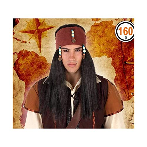 Atosa–31796–Parrucca Pirata Lunga–Colore Nero–Adulto