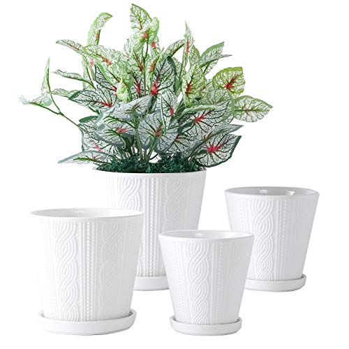 YISHANG Ceramic Planter Pots - Glazed Modern Planters Flower Pot Indoor Bonsai Container with Drainage Holes & Saucer/Tray for Plants Aloe,Set of 4 (White)
