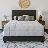Boyd Sleep Montana Upholstered Platform Bed Frame Mattress Foundation with Tri-Panel Headboard and Strong Wood Slat Supports: Faux Leather, Black, Queen