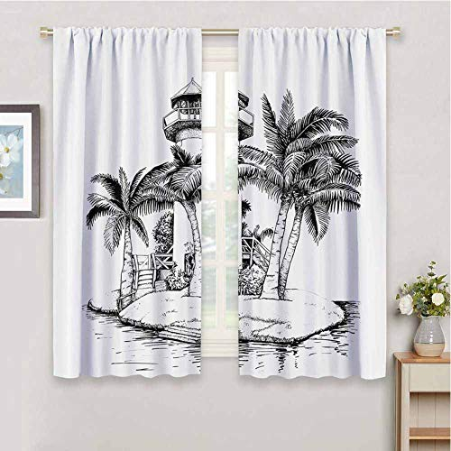 Tropical Bedroom Decor Blackout Shades Lighthouse on Island Surrounded with Palm Trees Exotic Landscape Sketchy Artwork Privacy Protection, W55 x L63 Inch, Black White