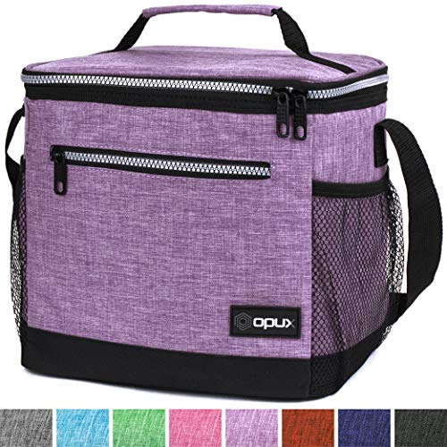OPUX Insulated Large Lunch Bag, Women | Meal Prep Lunch Box for Adult, Kids | Soft Leakproof Lunch Pail Cooler Bag with Shoulder Strap for Work, School, Beach | Fits 18 Cans (Heather Purple)