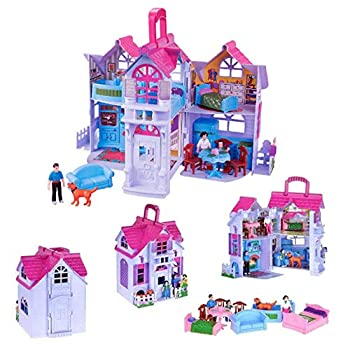Liberty Imports My Sweet Home Fold and Go Pretend Play Mini Dollhouse with Furniture and Accessories