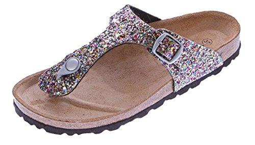 Gemini Damen Bio Pantoletten Zehentrenner Glitzer-Effekt Pink-Multi Sandalen Leder-Kork-Fußett Schuhe Latschen 36