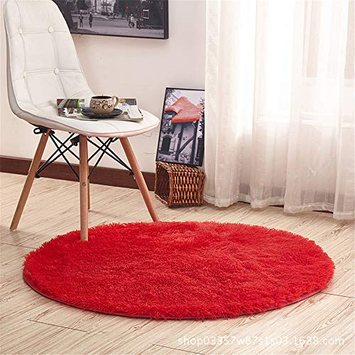 Odot Alfombra Shaggy para Salón, Ronda Color sólido Pelo Largo Elegante Mullida Brillante Super Suave Interior Moderno Lavado Sedoso Antideslizantes Peludas Dormitorio (100cm,Rojo Grande)