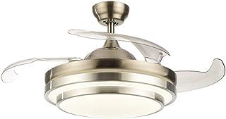 OUKANING Ventilador de techo con iluminación y mando a distancia, 3 colores de luz, 36 W, LED, lámpara de techo, alas plegables, 42 pulgadas, lámpara de techo moderna para dormitorio, salón, comedor