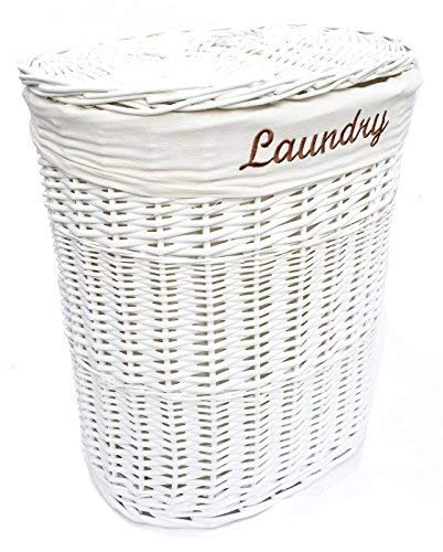topfurnishing Shabby Chic White Oval Wicker Laundry Basket With Lid & Removable Cotton Lining (Large Laundry) 37x50x55cm