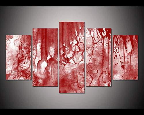 120Tdfc Puzzle-Iron Cuadro En Lienzo 5 Piezas Lienzo HD Pared Hogar Pasillo Mural Listo para Colgar Decor Obra Arte Enmarcar RegaloSangre de Halloween de Miedo