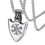 Escudo Nórdico Signo Brújula Compás Valknut Collar Religioso de Talismán Colgante Pequeño Acero Inoxidable 316L con Cadena Delgada Joyería de Familias
