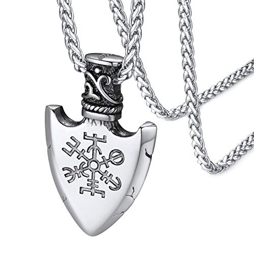 FaithHeart Viking Jewelry Men Compass Shield Pendant Necklace Stainless Steel Norse Mythology Collections for Boys Silver