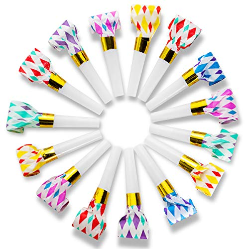 Party Blowers Noise Maker Toys - 144 Pcs Bulk - 11' Musical Blow Outs and Party Horns Great for New Year Party Noisemaker Whistles and Birthday Party Favors